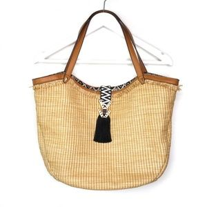 Stella & Dot woven raffia Riviera tote bag purse